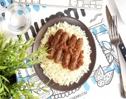Rice Kofta with red sauce served with white rice