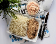 Mushroom Chicken Piccata with White Basmati Rice and Coleslow Salad