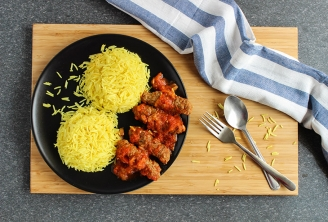 Indian kebab with rice