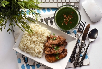 Grilled Chicken with White Rice and Mulukhiyah